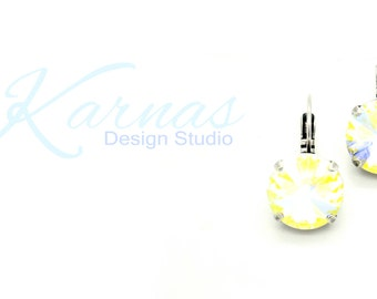 CRYSTAL AB 14mm Drop Leverback Earrings Made With Swarovski Elements *Antique Silver or Rhodium Finish *Karnas Design Studio *Free Shipping