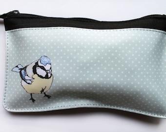 Blue tit bird zip pouch, makeup bag, pencil case