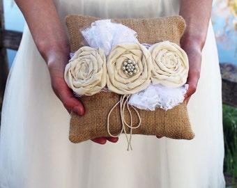 Ring Bearer Pillow, Burlap Ring Bearer Pillow, Rustic Ring Bearer, Burlap and Lace Ring Pillow, Rustic Chic Wedding, Country Wedding