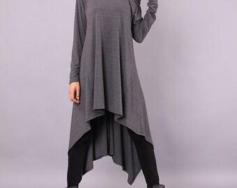 Long Tunic, gray long sweater, Spring tunic, autumn tunic, plus size loose tunic by UrbanMood - CO-SIMA-VL