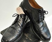 Mens Vintage Black Leather Oxford Brogues • Size 8 • Jones Made in England