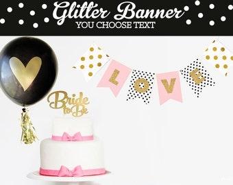 Bachelorette Glitter Banner - Bachelorette Decorations - CHEERS Bachelorette Party Decor - Hot Pink and Black Wedding Decor -  (EB3062)
