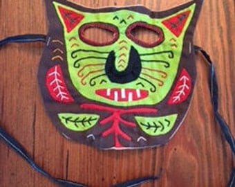 Mola Cat Mask handmade by the Kuna Indians in the San Blas Islands, Panama, folk art