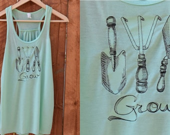 Gardening Tank Top, Flowy Grow Your Own Tank Top, Gardening Shirt, Urban Gardener, Country Style Shirt, Hippie Clothes