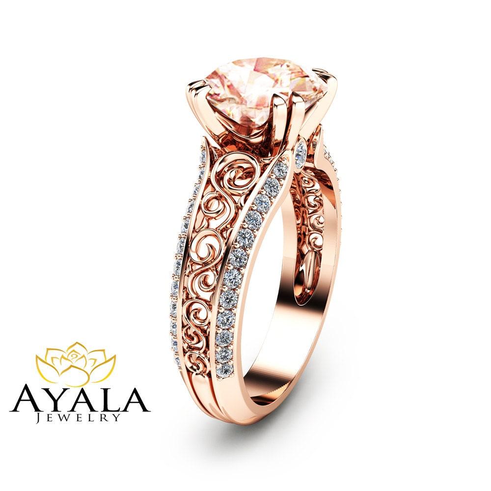 2 Carat Peach Pink Morganite Custom Ring in 14K Rose Gold