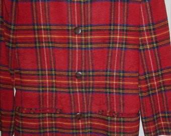 Vintage Breeches Stewart Plaid Wool Tunic Length Blazer Jacket Size 6