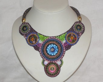 "Bead embroidery collar glass bead necklace ""Royal"""