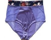 "Satin lavander panels and floral velvet waist band, high waisted panty ""Malt"" sheer mesh sides, knickers, satin women lingerie, see-through"