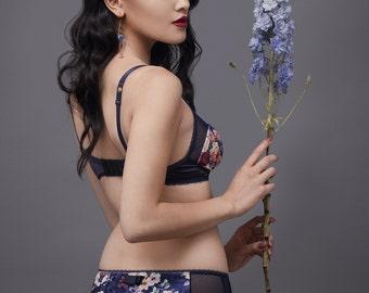 """Panties """"Brandy"""" , low rise panties with sheer mesh sides, floral cotton velvet, knickers, printed undies, flowers, dark blue, bamboo lined"""