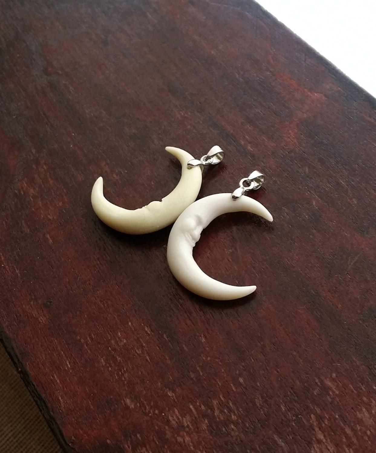 Half Crescent Moon With Face Tattoo: Crescent Moon Charm Necklace Smiling Face Half Moon Charm