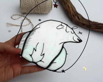 GLASS POLAR BEAR - Iridescent Stained Glass - White Christmas Decoration - Cute Gift - Contemporary Festive Ornament
