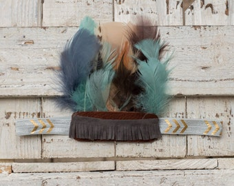 Aqua, Gray, Gold, and Brown Aztec Feather Headband, Indie Headdress, Feather Crown