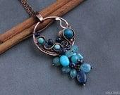 Lapis lazuli  pendant, wire wrap pendant, wire wrapped jewelry, blue summer pendant