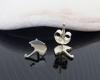 Sterling Silver Umbrella Studs / Small Umbrella Earrings / Umbrella Stud Earrings / Post Earrings / Silver Studs