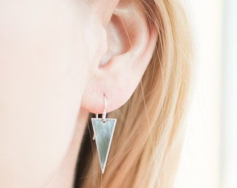 Delicate Arrow Earrings // Sterling Silver Earrings // Triangle Dangle Earrings // The Denise Earring