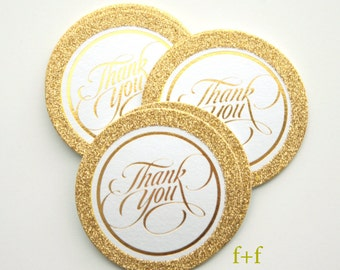 Gold Glitter Thank You Tags Package of 20