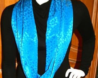 Scarf Infinity Turquoise Blue Satin Sleek Glossy Monotone Color Scheme Animal Print