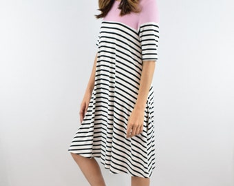 A Line Striped  Tunic with Pockets