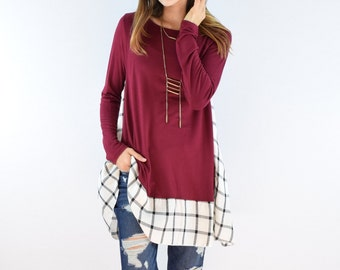 Check Trimmed Tunic
