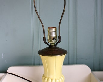 Vintage Table Lamp Yellow Urn Lamp Accent Light Bedside Light