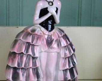 Art Deco Ballerina Black and Pink Woman Figurine