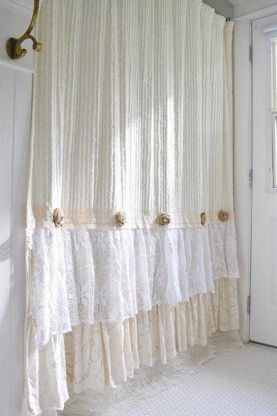 Shabby cottage chic shower curtain cream chenille lace ruffle - Shabby chic shower curtains ...