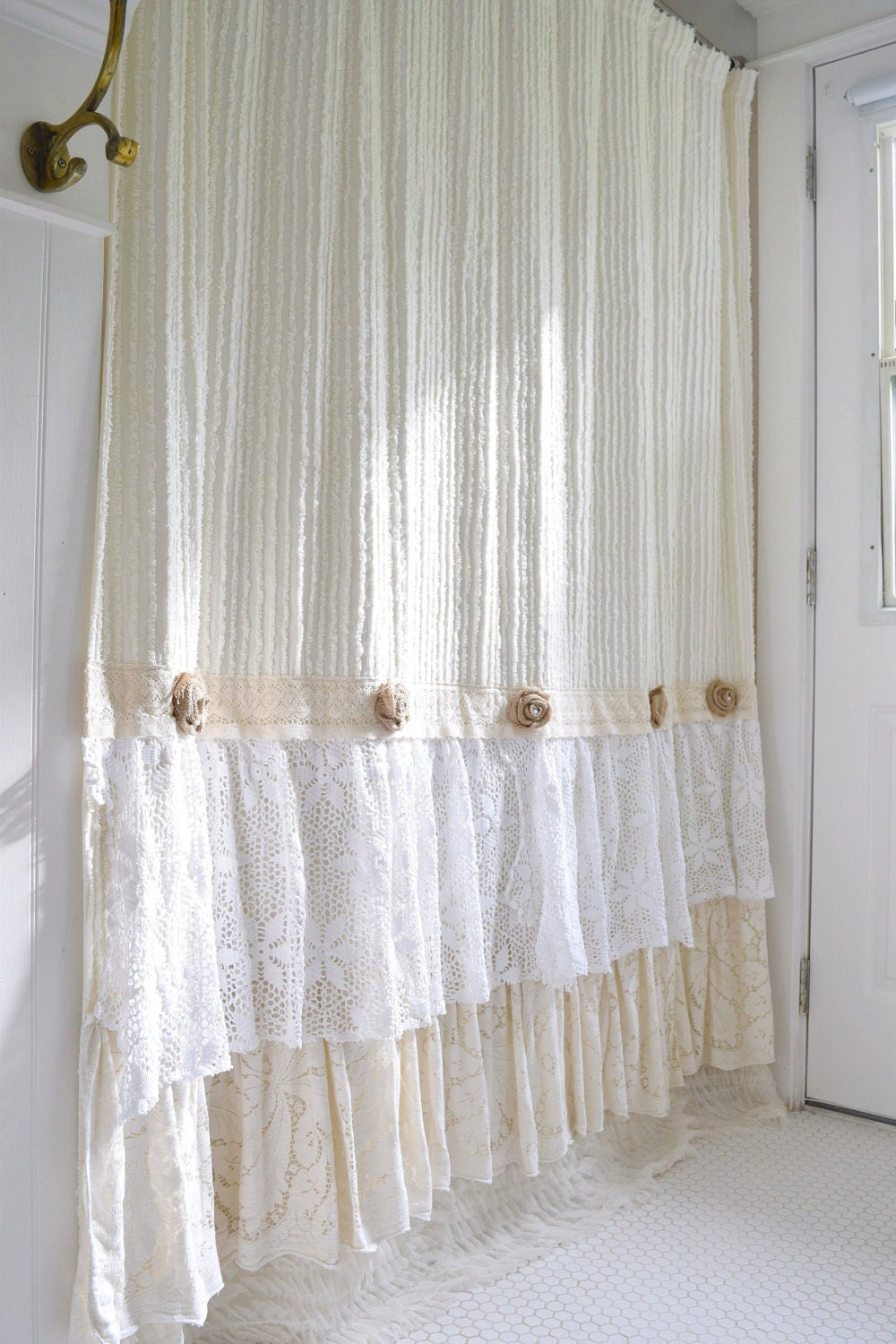 Shabby Cottage Chic Shower Curtain Cream Chenille Lace Ruffle