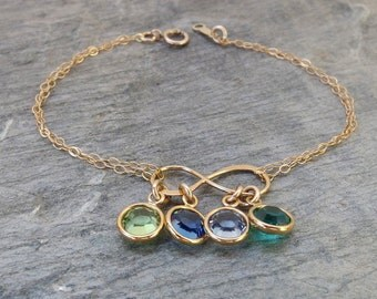 Birthstone bracelet, Personalized mother bracelet, Personalized Eternity bracelet, Infinity bracelet, Mother bracelet, Grandma bracelet,