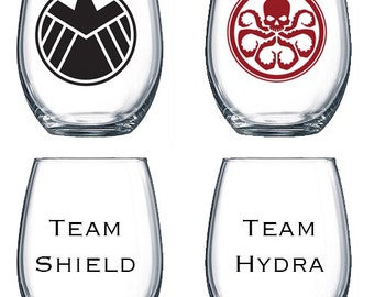 15oz Stemless Wine Glass | Marvel Agents of Shield/Hydra