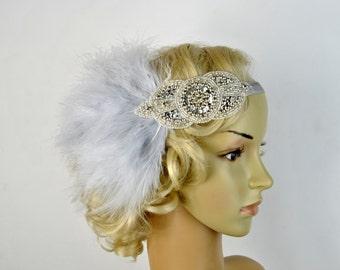 Silver  beaded flapper Gatsby Headband,Wedding Headband, Beaded feathers headband, Crystal Wedding Headpiece, 1920s Flapper headband