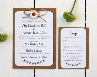 Rustic Daisy and Twine Wedding Invitation Set