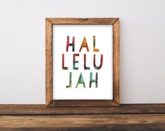 Hallelujah Print, 8x10 Printable Art, Scripture Verse Print, Bible Verse Print, Painted Printable, Colorful Print, Rainbow Print, Christian