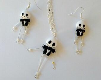 The Nightmare Before Christmas Jack Skellington Skeleton Tim Burton Earrings of Necklace Handmade Fimo