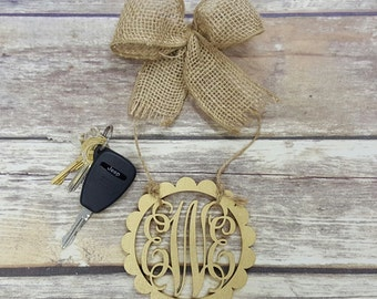 "Car Charm - Car Monogram - Rear View Mirror Monogram - 4.5"" Painted Monogram with Burlap Bow - Scallop Circle Border"