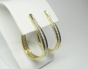 Flashy Vintage 90s Vermeil Cubic Zirconia Hoop Earrings