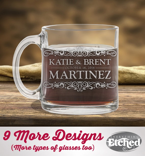 Glass Coffee Mug Personalized Wedding Gift by EverythingEtchedAZ