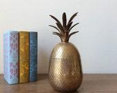 "Vintage Brass Pineapple - Large 10"" - Trinket Box - Ice Bucket"