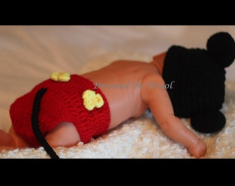 Baby Boy Crochet Mickey Mouse Hat Beanie and Diaper Cover Set.  Photography Props Costume