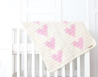 Chunky Knit Heart Blanket ~ Cream & Blossom Pink