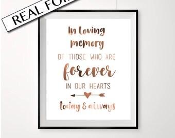 REAL COPPER FOIL, In loving memory, wedding sign,  remembrance sign, wedding, copper foil wedding, copper foil signage, wedding, decor