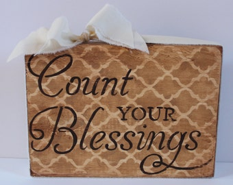Count Your Blessings Wood Block Shelf Sitter