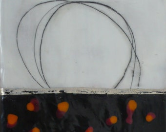 Remembering - Encaustic Painting. Original small art of encaustic wax, pigment, joss paper and graphite by Kim Cardoso