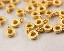 15pcs Gold Bail Links, 24K Matte Gold Charm Holders, (12mm x 8mm) Gold Ring Charm Holders, Metal Gold Charm Holder, Gold Bail Link / GPY-049