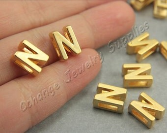 N Gold Letters, 2 pcs Alphabet Beads, Matte Gold Alphabet Letters, 24K Gold Plated, Flat Alphabet Letter Bead, ABC Letter Bead Findings