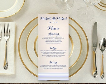 Nautical Compass Wedding Menu Card | Wedding Reception Stationery, Cute, Light, Playful, Clean Love | Blue Classic Modern