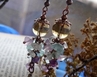 Long stone earrings Dangle fluorite earrings Copper romantic cluster earrings Multicolor wire wrapped earrings Unique handmade earrings Gift