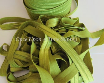 Olive Green Fold Over Elastic for Baby Headbands -  5 Yards of 5/8 inch FOE - Craft Embellishment - Solid Color Moss Elastic By The Yard