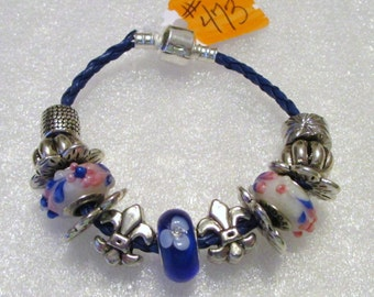 473 - NEW - Blue Beaded Bracelet
