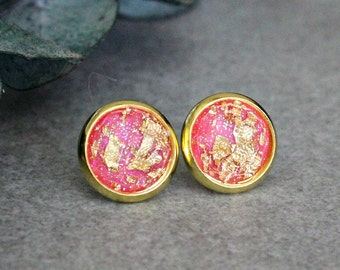 Pink Stud Earrings, Pink Earrings, Pink Post Earrings, Gold Glitter Earrings, Pink and Gold Earrings, Gold Stud Earrings, Gold Earrings 10MM