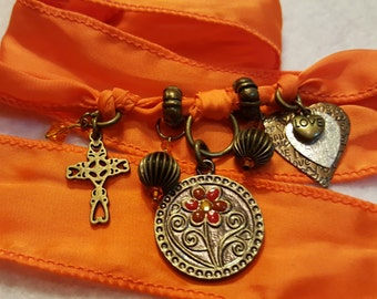 Flower Charm Silk Wrap Bracelet, Orange Wrap Bracelet,Antique Brass Charm Bracelet, Cross Wrap Bracelet